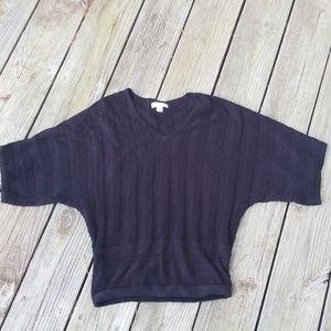 Black textured stripe dolman sweater